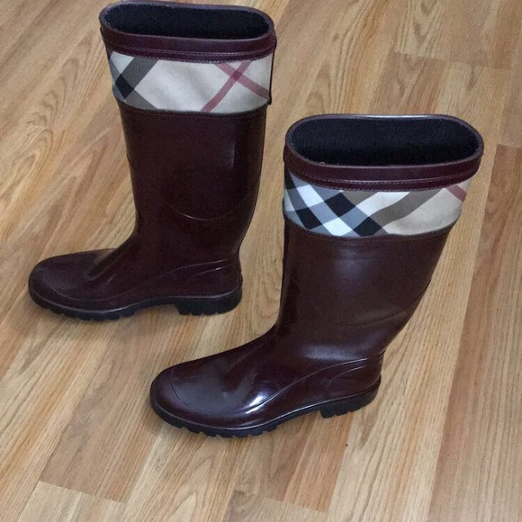 Burberry Shoes | Berry Red Rain Boots